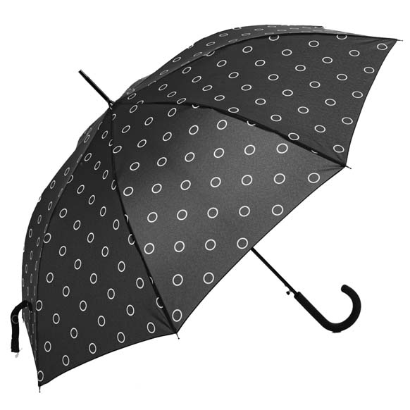 Charcoal Grey Spots Print Walking Umbrella (15003)