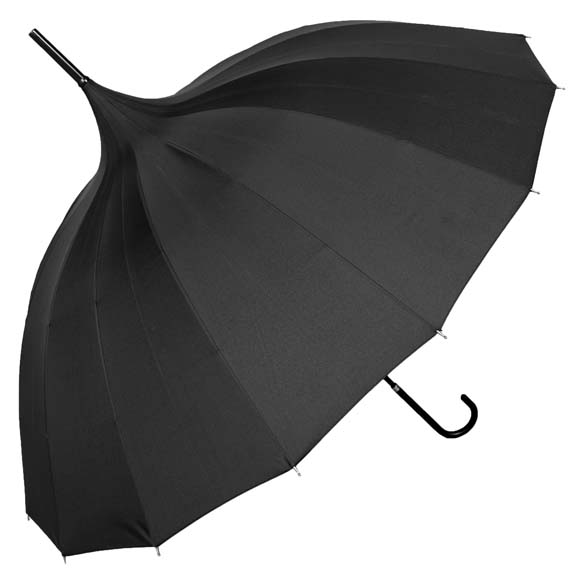 Oriental Black Ornate Pagoda Occasion Umbrella (17002/BLK)