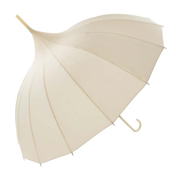 Oriental Ivory Ornate Pagoda Style Occasion Umbrella (17002/IVO)