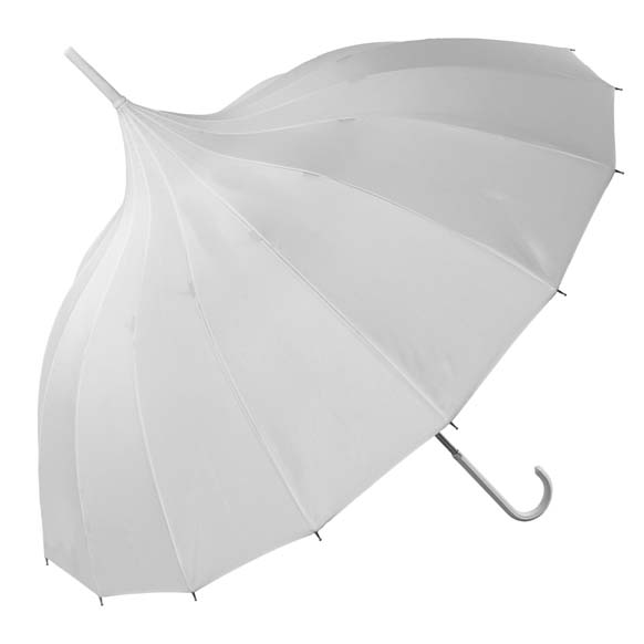 Oriental White Ornate Pagoda Style Occasion Umbrella (17002/WHI)