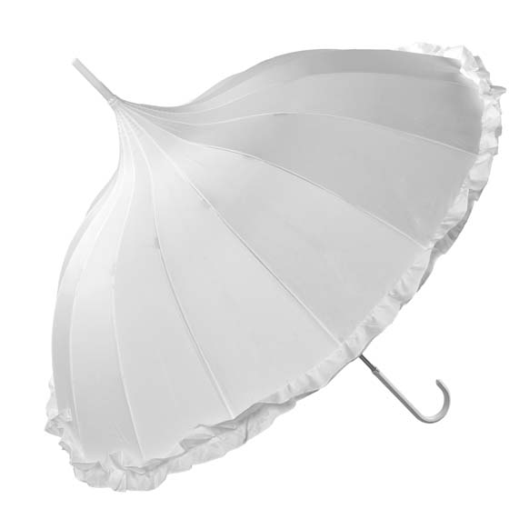 Oriental White Ornate Pagoda Style Frilled Occasion Umbrella (17003/WHI)