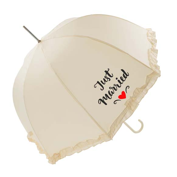 "Luxury Frilled ""Just Married"" Wedding Umbrella (17013/IVO)"