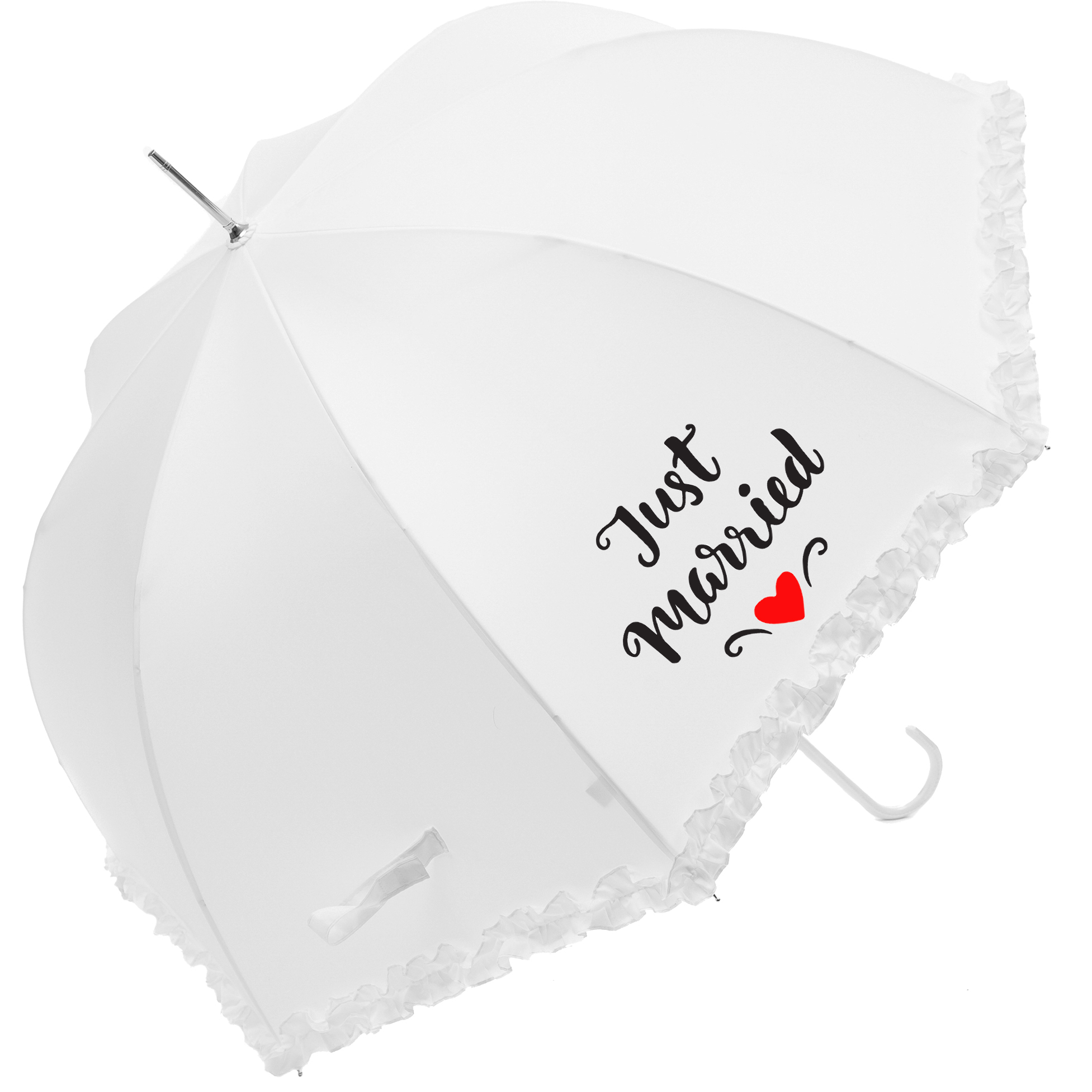 "Luxury Frilled ""Just Married"" Wedding Umbrella (17014WHI)"