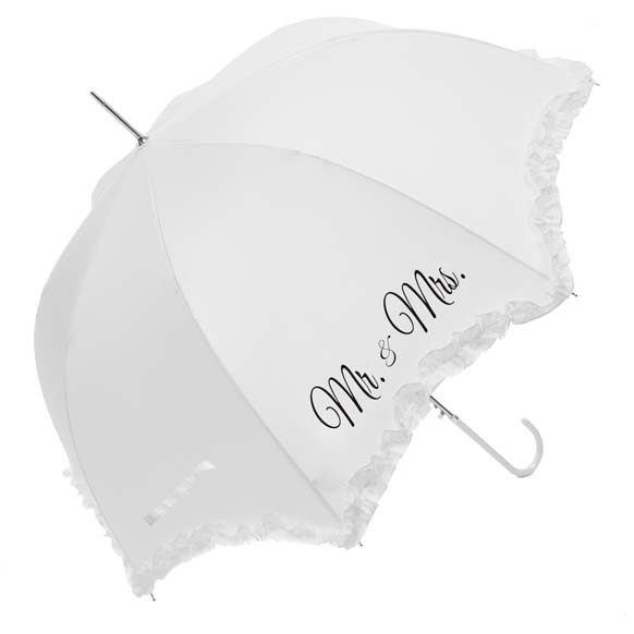"Click to view Luxury Scallop Frilled ""Mr & Mrs"" Wedding Umbrella (17014/WHI)"