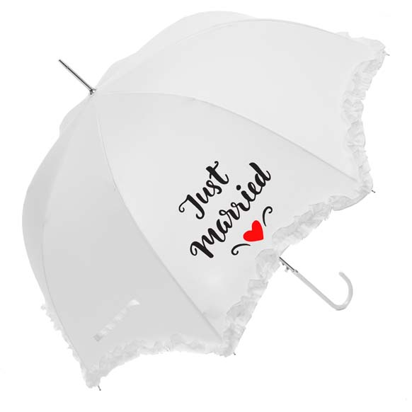 "Luxury Scallop Frilled ""Just Married"" Wedding Umbrella (17014/WHI)"