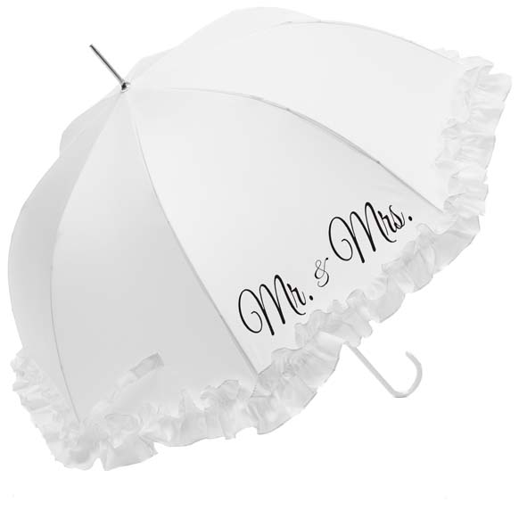 "Luxury Large Frilled ""Mr & Mrs"" Wedding Umbrella (17015/WHI)"