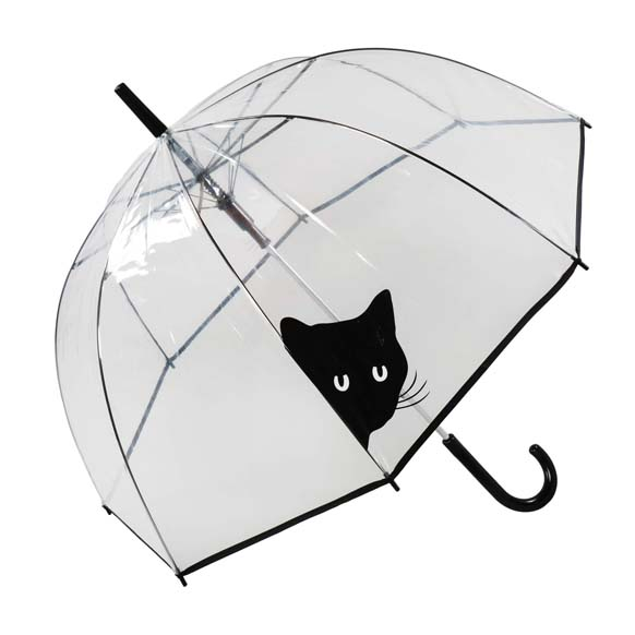 Side Peeking Black Cat Clear See Through Dome Umbrella (17018)
