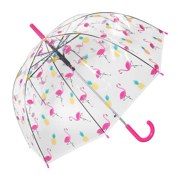 Flamingo & Pineapple Ladies Clear Bubble Dome Umbrella (17021)
