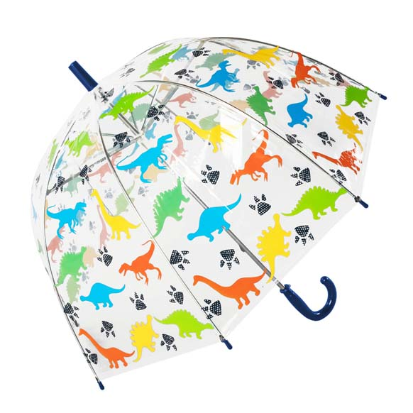 Colourfull Childrens Dinosaur Clear Dome Umbrella (17023)