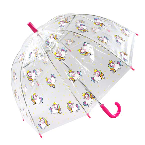 Girls Colourful Childrens Unicorn Clear Bubble Dome Umbrella (17025)