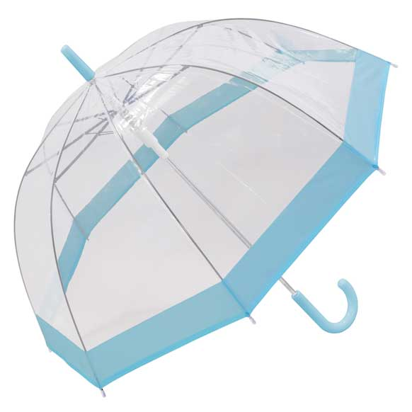 Pastel Blue Bordered Dome Umbrella (18006)