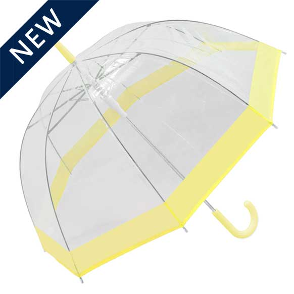Pastel Yellow Bordered Dome Umbrella (18006)