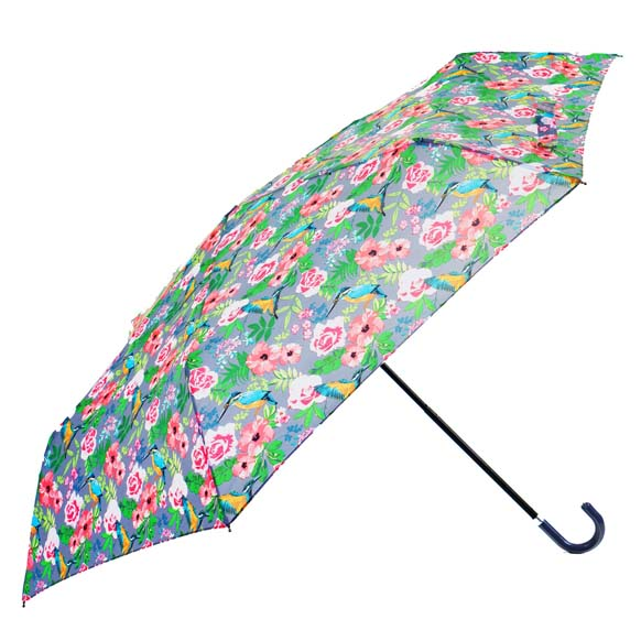 Vintage Bird Print Crook Handle Compact Ladies Umbrella (31424)
