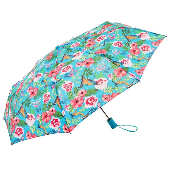 Wind Resistant Blue Botanic Floral Ladies Automatic Compact Umbrella (31501)