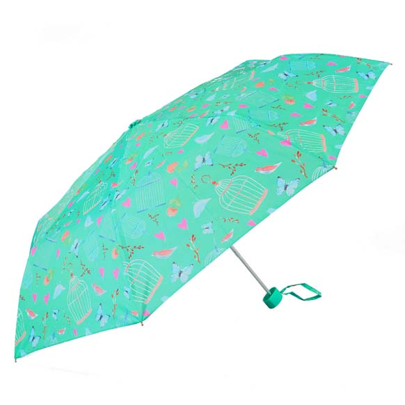 Wind Resistant Birds & Butterflies Print Ladies Mini Compact Umbrella (31504)
