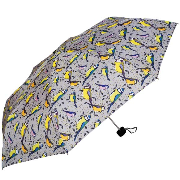 Grey Vintage Bird Print Ladies Compact Umbrella (31508)