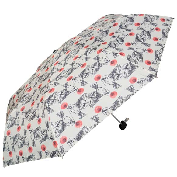 White Vintage Bird Print Ladies Compact Umbrella (31508)