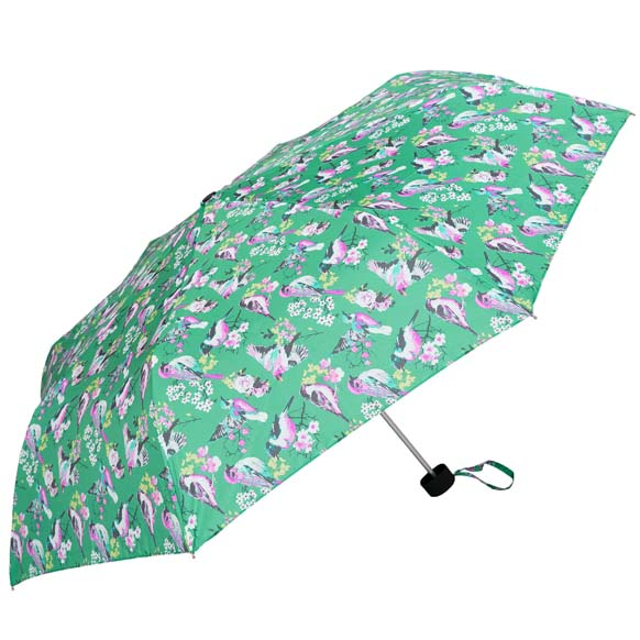 Green Vintage Bird Print Ladies Compact Umbrella (31508)