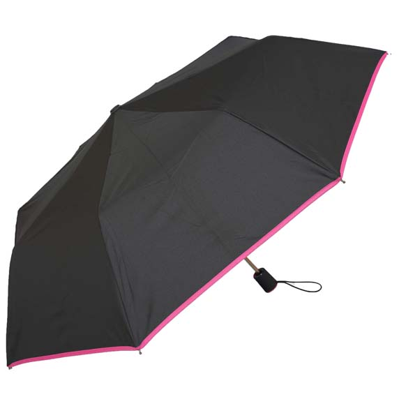 Wind Resistant Pink Colour Trim Automatic Compact Umbrella (31509)