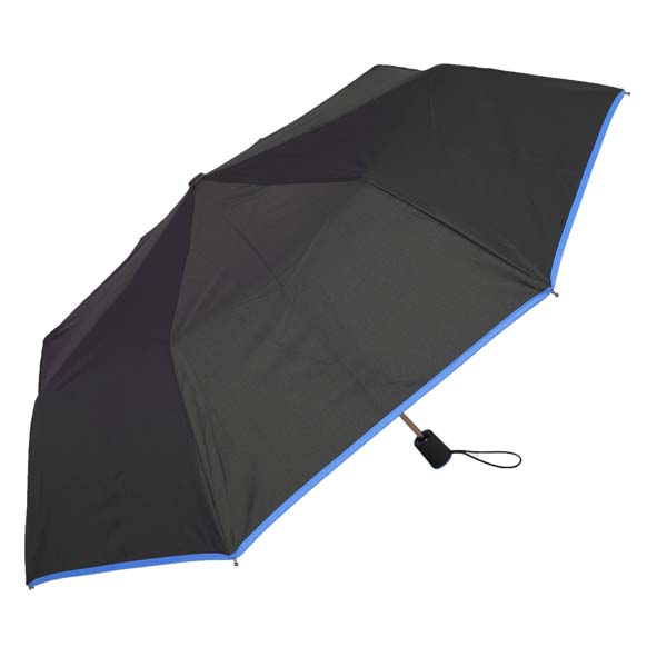 Wind Resistant Blue Colour Trim Automatic Compact Umbrella (31509)