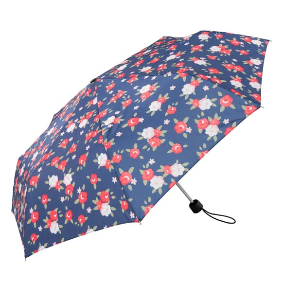 Vintage Red & White Floral Ladies Compact Umbrella (31703)