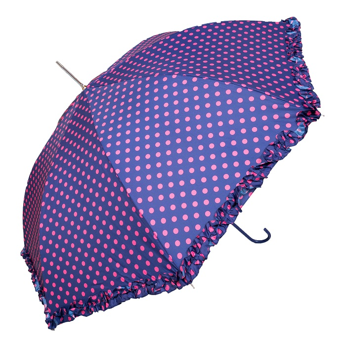 Bright Polka Dot With Frilled Border Purple Ladies Walking Umbrella (3180)