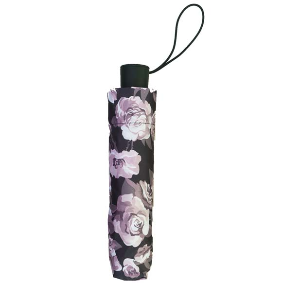 Wind Resistant Rose Garden Florals Ladies Automatic Compact Umbrella (33152)