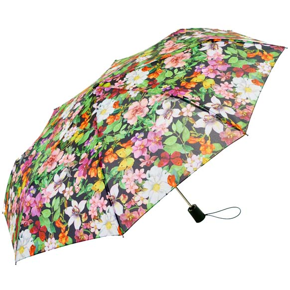 Wind Resistant Garden Florals Ladies Automatic Compact Umbrella (33152)
