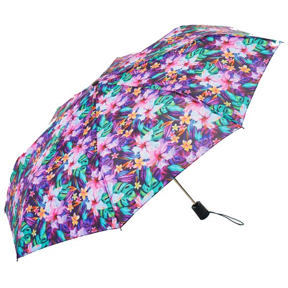 Wind Resistant Lily Garden Florals Ladies Automatic Compact Umbrella (33152)