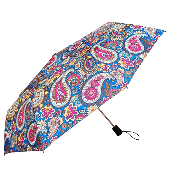 Wind Resistant Pale Blue Paisley Print Ladies Automatic Compact Umbrella (33156)