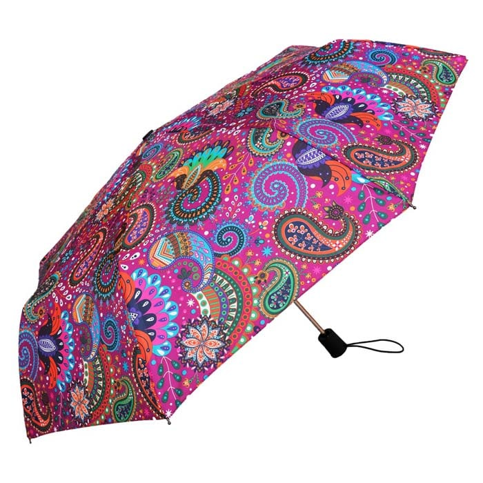 Wind Resistant Purple Paisley Print Ladies Automatic Compact Umbrella (33156)