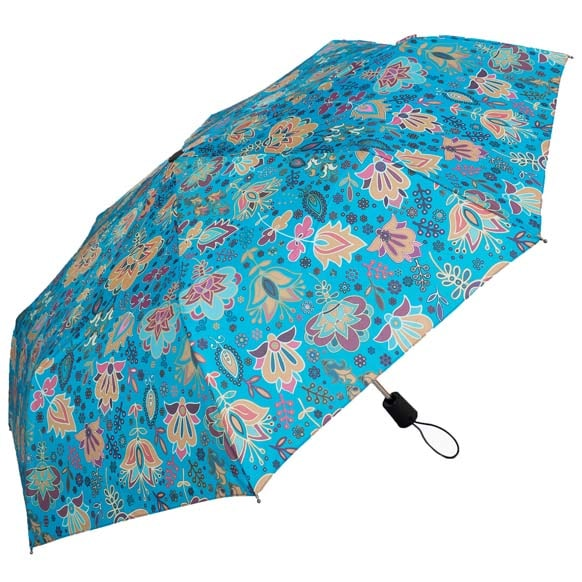 Wind Resistant Blue Paisley Print Ladies Automatic Compact Umbrella (33156)