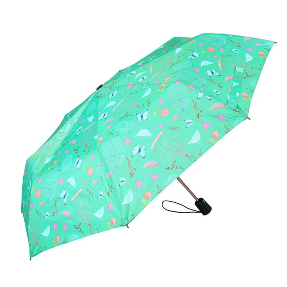 Wind Resistant Vintage Butterfly Print Ladies Automatic Compact Umbrella (33157)