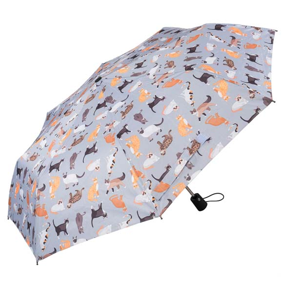 Wind Resistant Cat Print Ladies Automatic Compact Umbrella (33157)