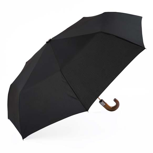 Gentlemens Wooden Handle Automatic Compact Folding Umbrella (3424)