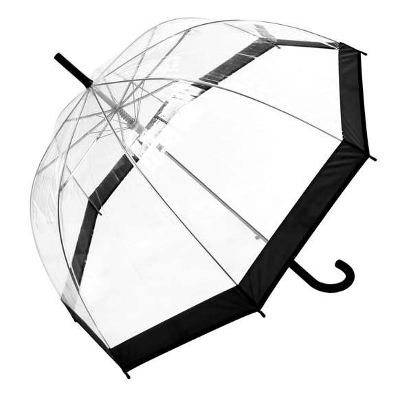 Coloured Border Clear Bubble Transparent Dome Umbrella - Black (3466A)