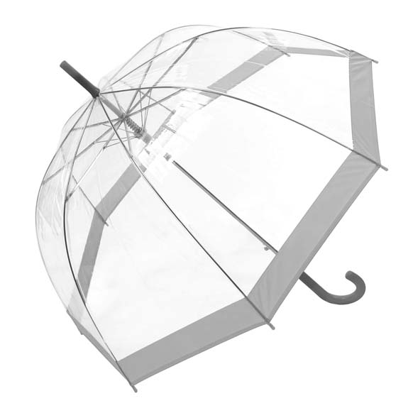 Coloured Border Clear Bubble Transparent Dome Umbrella - Grey (3466A)