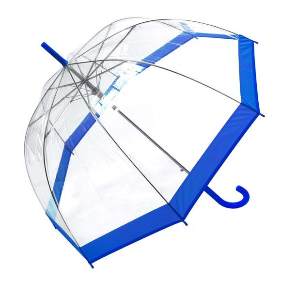 Coloured Border Clear Bubble Transparent Dome Umbrella - Blue (3466A)