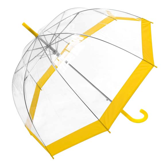 Coloured Border Clear Bubble Transparent Dome Umbrella - Yellow (3466A)