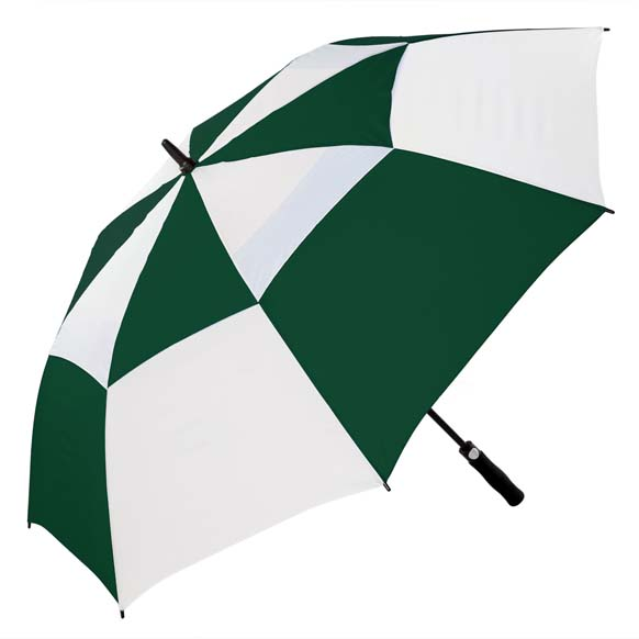 Premium Windproof Golf Umbrella, Auto Open - Green and White(3477)