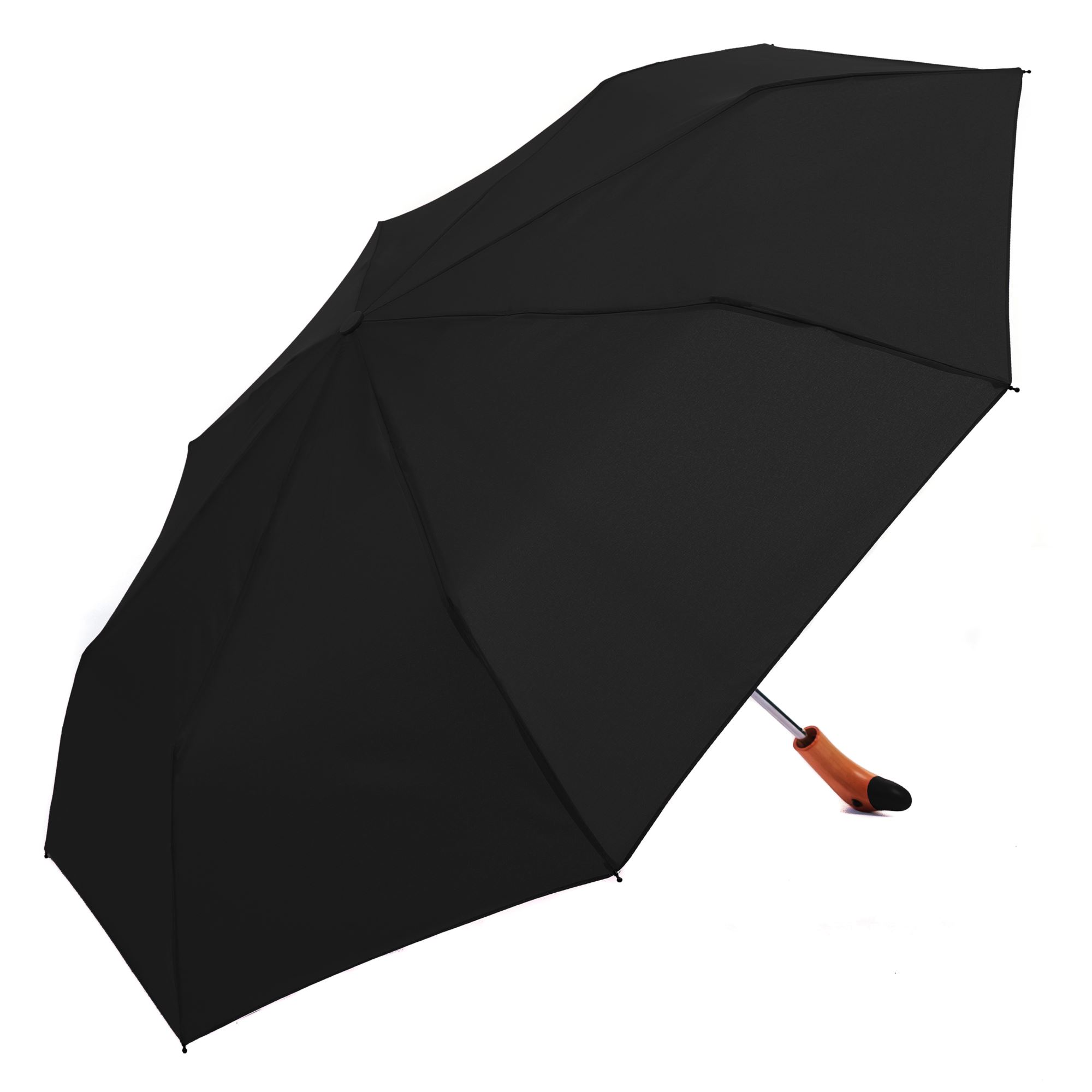 Black Wooden Duck Head Handle Ladies Compact Umbrella (3488)