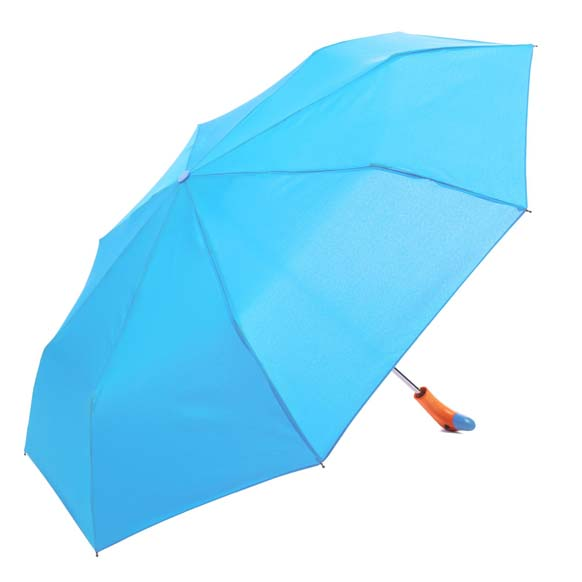Blue Wooden Duck Head Handle Ladies Compact Umbrella (3488)