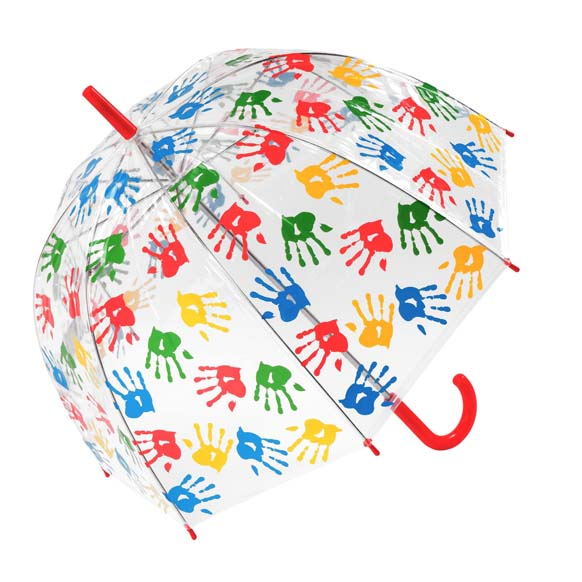 Childrens Multicoloured Handprint Clear Bubble Dome Umbrella - Red Handle (3490)