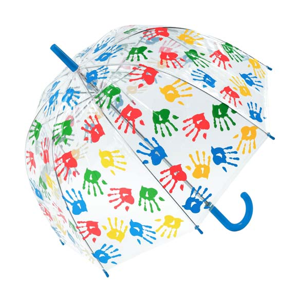 Childrens Multicoloured Handprint Clear Bubble Dome Umbrella - Blue Handle (3490)