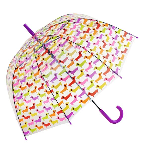 Colourful Sausage Dog Dachshund Clear PVC Bubble Dome Umbrella (3495)
