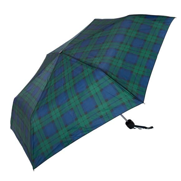 Black Watch Tartan Print Unisex Compact Umbrella (3501N)