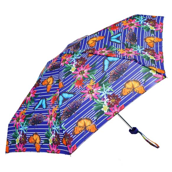 Purple Botanic Floral Print Ladies Mini Compact Umbrella (51023)