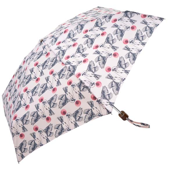 White Vintage Birds Ladies Mini Compact Umbrella (51029)