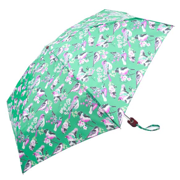 Green Vintage Birds Ladies Mini Compact Umbrella (51029)