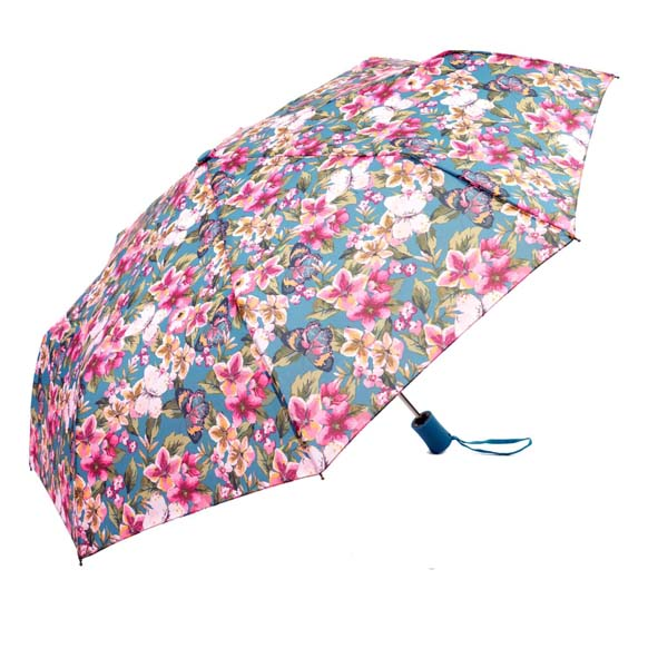Wind Resistant Botanic Floral Ladies Automatic Compact Umbrella (31501)